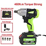 18V Electric Cordless Impact Wrench 6.0AH Li-Battery, Max 460Nm, 2900RPM Variable Speed Waterproof