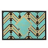 werert Welcome Doormat Personalized Geometric Doormats Outdoor Rug Teal Door Rug Indoor with Name Rustic Decorative Home Mat