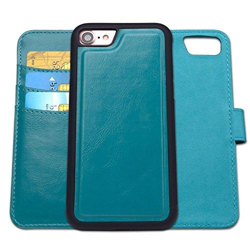 Magnetische Klappe (Kompatibel mit iPhone 8 Hülle, Kompatibel mit iPhone 7 Hülle, SHANSHUI 2in1 Doppelschutz Handyhülle mit RFID Schutz, Kartenfach für Bankarte und Geldschein, Geldbeutel-Style mit Magnetverschluss(Blau))