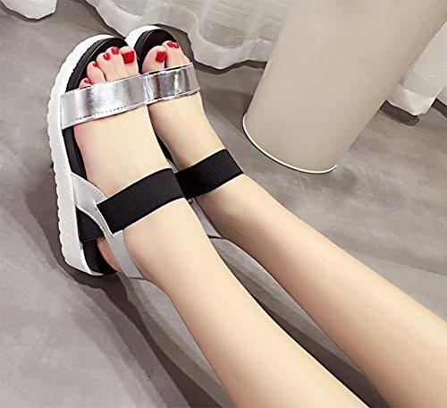 Sommerfrauen Sandelholzsandelholze flache Sandalen weibliche Sandalen weiblicher Schnalle Student Silver