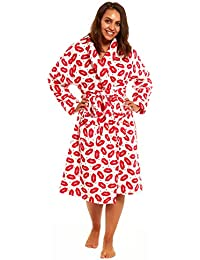 Foxbury Ladies Love Lip Print Soft Touch Dressing Gown Robe with Free Lounge  Socks bf7a06263