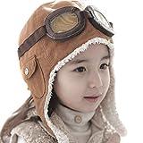 Lucky Will Winter Warme Baby Kinder Fliegermütze Fliegerkappe Pilotenmütze Pilotenkappe Braun