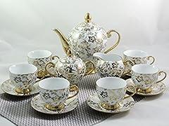 Idea Regalo - Servizio da tè o caffè in porcellana, serie gold, 15pezzi