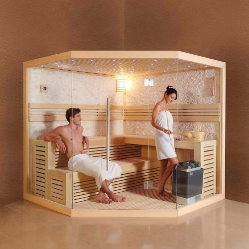 perfect-spa Design Sauna PS 1101 A Ecksauna 220 X 220cm 6KW/Saunaofen Wellnesstempel Oase