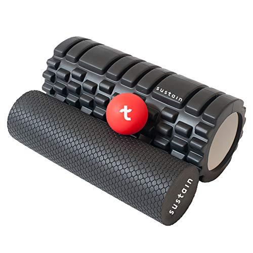 Sustain 2 in 1 Faszienrolle + Massageball | Ideal zur Massage von Wirbelsäule, Nacken, Schulter & bei Rückenschmerzen | Faszienrollen Set: Faszien Rolle + Faszienball / Igelball & Massagerolle