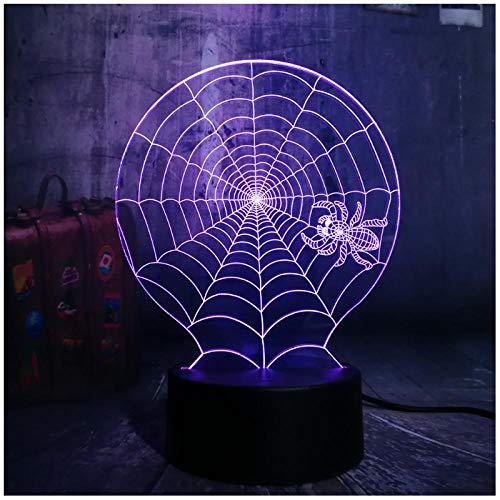 3D Halloween Scary Scene LED Nachtlicht Cobweb