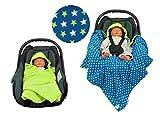 Einschlagdecke für die Babyschale Fußsack für kalte Tage in verschiedenen Farben von HOBEA-Germany, Farben Winterdecken:hellgrün mit Sternen