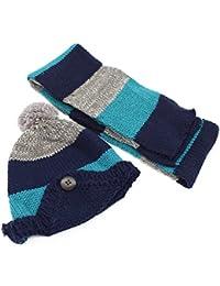 YOPINDO - Ensemble bonnet, écharpe et gants - Garçon Bleu bleu L