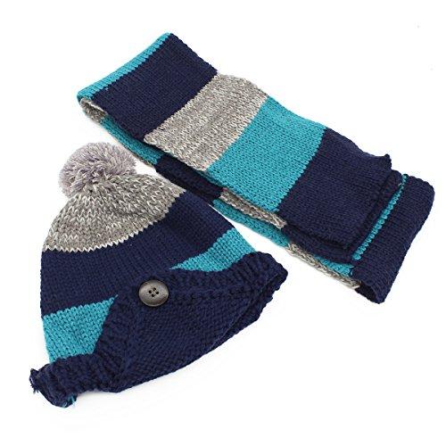 YOPINDO Baby Junge Mädchen Winter Hut Warme Weiche Gestrickte Wolle Earflap Häkeln Tier Beanie Mütze (Blau)