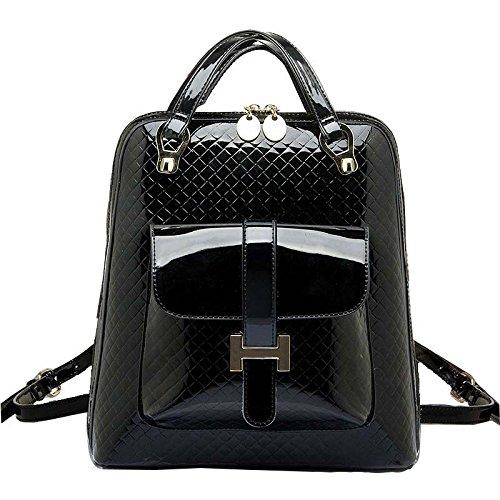 Mefly Student Tasche Tasche Rucksack Rucksack Fashion Retro Flugreisen Black with leather