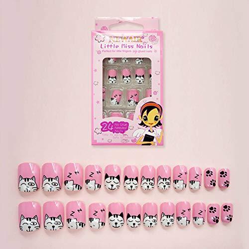 mimei 24 pezzi unghie finte bambina, rosa con design cartone gatto, unghie finte adesive bambina (autoadesivo)