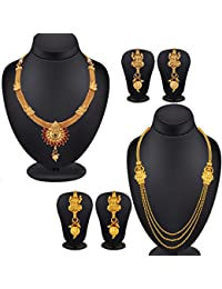 Spargz Jewellery Gold Plated Antique Laxmi Collection Jewellery (Set Of 2)