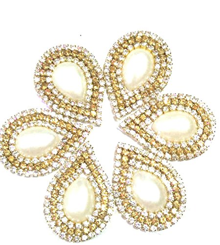 Golden Drop shape Motif / Buties with Stone and Pearl Saree Patches...