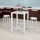 SoBuy® OGT12-W Set de 1 Table + 2 Tabourets Ensemble table de bar bistrot + 2 tabourets avec repose-pieds Table Mange-debout Table haute cuisine – Blanc
