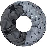 PiriModa XXL Neue Kollektion Damen Schal leichter Schlauchschal Viele Farben (Stern Dunkelgrau/Schwarz)