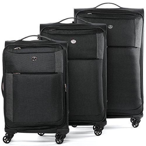 FERGÉ Set di 3 valigie Saint-Tropez - bagaglio leggero da 3 - tre pz. valigie con 4 ruote (con rotelle multidirezionali 360°) grigio-argento