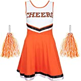 Redstar Fancy Dress - Damen Cheerleader-Kostüm - Uniform mit Pompons - Halloween, American High School - 6 Größen 34-44 - Orange - M