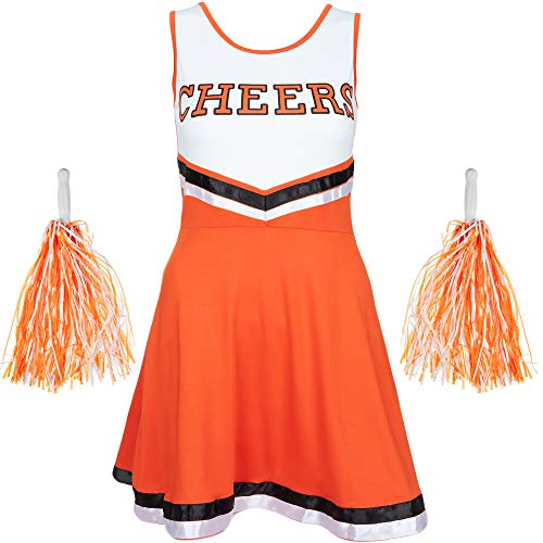 (REDSTAR FANCY DRESS Damen Cheerleader Kostüm Outfit mit Pom Poms Halloween Kostüm American High School Musical Sport Verfügbar in den Größen 6-16 and 6 Farben - Orange, L)