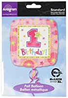 Party - Balloon - 1st Birthday - Girl - Foil - Anagram. Girls 1st Birthday foil balloon with XtraLife. Size: 18in. Shipped flat and uninflated in packaging.