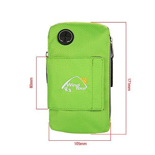 Docooler 5.5 Zoll Sport Mobil Arm Tasche/Handgelenk Tasche, Dauerhaft/Multifunktion Brieftasche Armbinde Grün