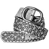 CASPAR Damen Vintage Gürtel mit Strass Steinen und Nieten Teil Leder - viele Farben - GU263, Länge:105;Farbe:silber metallic