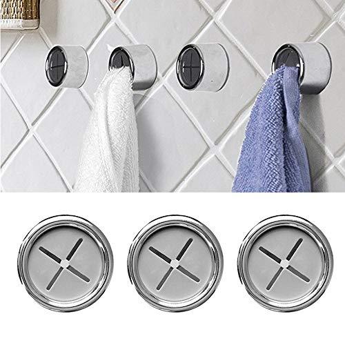 DoreenBow 3PCS Porte-serviette Rond Support de Crochet Adhésif Accroche Torchons en Inox pour Salle de Bains Cuisine
