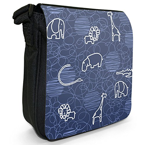 Giraffa, leone, elefante e ippopotamo Borsa a spalla piccola di tela, colore: nero, taglia: S Nero (blu)