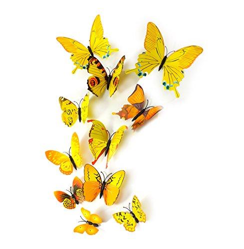 MissBirdler 24 Stk. Gelbe Schmetterlinge 3D Effekt Kühlschrank Schmetterling Magnet mit Klebepunkten Wandtattoo Wand Aufkleber Dekoration Wohnzimmer Schlafzimmer Deko Wandsticker Wandaufkleber