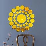 wandaufkleber wandtattoos Ronamick 31X Runde Spiegel Wandaufkleber Acryl Oberfläche Aufkleber Home Room DIY Art Decor (Gold)