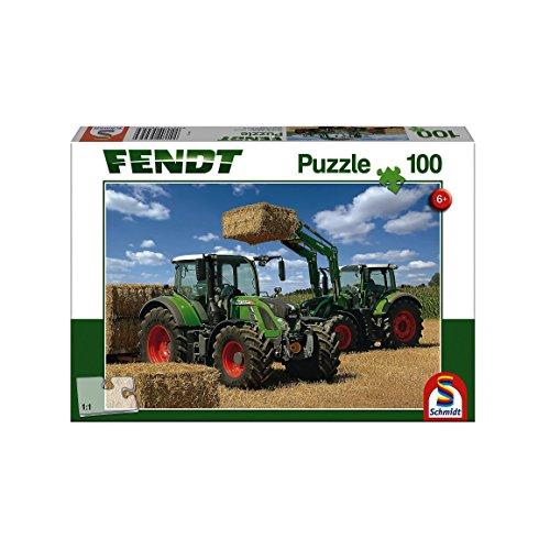 Schmidt Spiele 56256 Traktor Fendt Vario 724 und 716 mit Frontlader, 100 Teile Kinderpuzzle, Weiss -