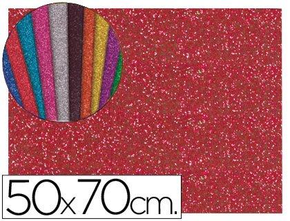 Liderpapel - Goma eva con purpurina 50x70cm 60g/m2 espesor 2mm rojo (10 unidades)