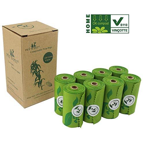 PET N PET Bolsas biodegradables para Caca de Perro, Bolsas para Caca compostables EN13432 Cetified 120 Unidades, sin Perfume