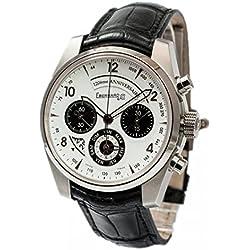 Eberhard 120Degrees Anniversary Clock 31120CPD Breaker Steel quandrante White Leather Strap