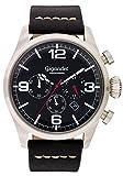 Gigandet Herren-Armbanduhr Daydream Quarz Chronograph Uhr Datum Analog Lederarmband Schwarz Silber G20-002