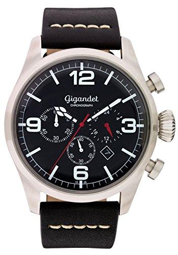 Gigandet–Reloj de pulsera hombre Daydream cuarzo cronógrafo reloj Fecha Analógico Pulsera de piel Negro Plata G20–002