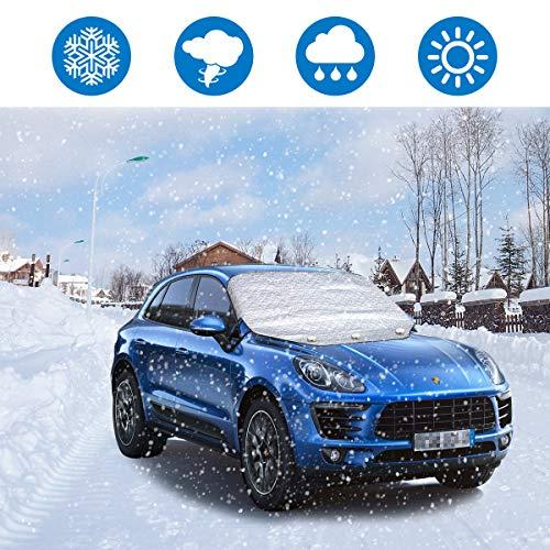 ieGeek Couverture Pare-Brise Voiture, Parasol de Voiture, Protection UV, Coupe-Vent avec 3 Aimants Cachés, Couverture d'hiver de Pare-Brise de Glace Automobile SUV.
