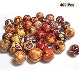 Holzperlen (400 Stück) Natur - Bastelperlen Schmuckperlen - Runde10mm Makramee Perlen mit 4mm Loch für Schmuckherstellung, Basteln, Handwerk, Halskette, Armband, Haargeflecht und Verschönerung