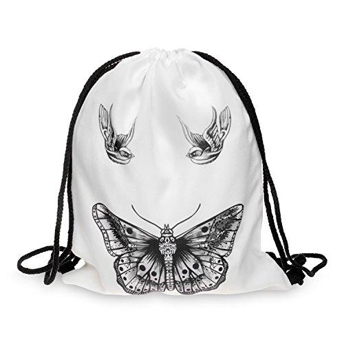 oo White Aufdruck Fullprint Tasche Gymsac Turnbeutel Jutebeutel Print Bag Fitness [010] (Butterfly Tatoo)