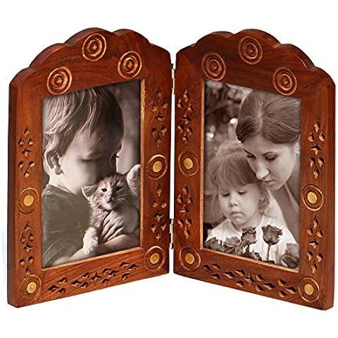 SouvNear Marco de fotos doble - hecho a mano en madera - marcos de la foto de la gemelas con trabajo decorativo de latón - marco para fotos de 3 x 5