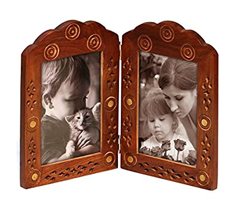 SouvNear Double Photo Picture Frame 3x5 Hand Carved Solid Mango Wood Frame with Stand Decorative Antique Look Lattice and Brass Inlay Work for Living Room / Table-top / Home
