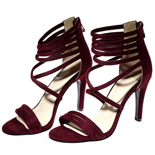 AIYOUMEI Damen Offene Sandalen mit 10cm Absatz und Reißverschluss Stiletto High Heels Römersandalen Modern Schuhe Weinrot