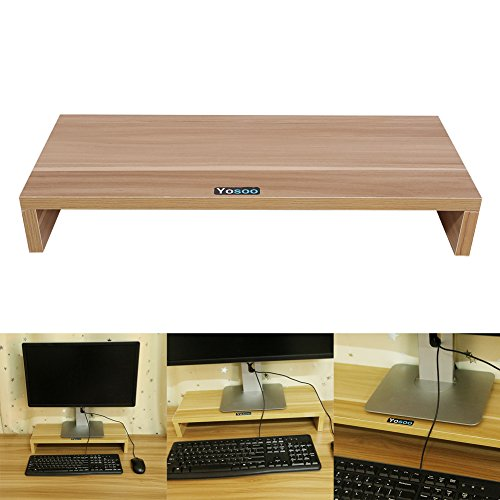 Zerone Halterung Monitor Computer,-Halterung Monitor Büro Holz Monitor Stand für PC Laptopbildschirm/TV/LCD 50* 20* 7.7cm Couleur du Bois