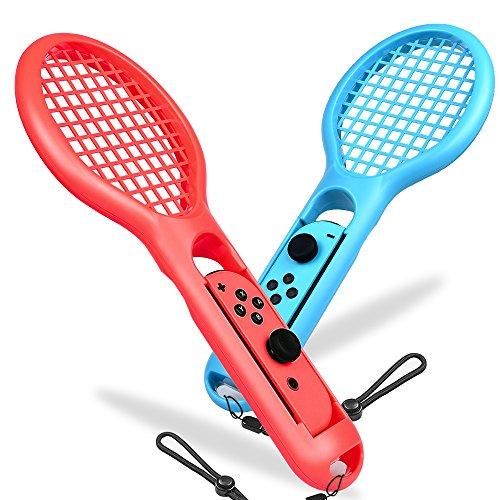 BEBONCOOL Tennis Rackets für Nintendo Swith Joy-Con Controller, 2 Packs Swith Joy-Con Griffe Schläger für Mario Tennis Aces, Echter Simulation Schläger Griffe für Somatosensorische Spiele(Blau und Rot)