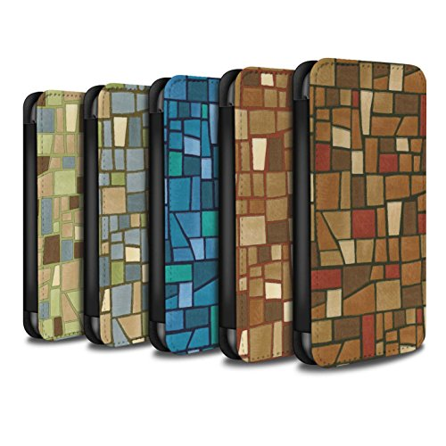 Stuff4 Coque/Etui/Housse Cuir PU Case/Cover pour Apple iPhone 5C / Rouge/Bleu Design / Carrelage Mosaïque Collection Multipack (9 Pcs)
