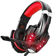 Gaming Headset PS4, VersionTech 3,5mm Stereo Wired Over-Ear-Kopfhörer mit Mikrofon LED-Licht In-line Lautstärk