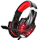 VersionTECH. Gaming Headset PS4, 3,5mm Stereo Wired Over-Ear-Kopfh?rer mit Mikrofon LED-Licht In-line Lautst?rkeregler f¨¹r PS4 New Xbox One PC MAC Laptop iPad und Smartphone - Rot