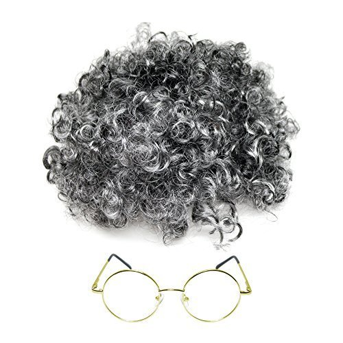 Kinder / Erwachsene Oma Kostüm Grau Locken Perücke & Brillen (WELT BUCH WOCHE / TAG) (Oma Kostüm Zubehör)