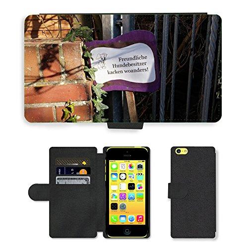 Just Mobile pour Hot Style Téléphone portable étui portefeuille en cuir PU avec fente pour carte//m00138809propriétaire pour chien Funny Emden//Apple iPhone 5C