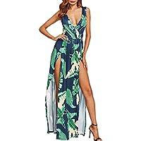 StageOnline Mujer Vestido Largo Sin Mangas de Escotado por Detras Maxi Vestidos Flores de Noche Playa Vacaciones