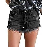 Hocaies Damen Jeansshorts Basic in Aged-Waschung Jeans Bermuda-Shorts Kurze Hosen aus Denim für den Damen Sommer Denim Kurze Hose mit Quaste Ripped Loch Hotpants (44 (32W), Schwarz)